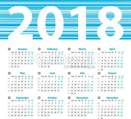 calendar 2018 year vector design template with week numbers and