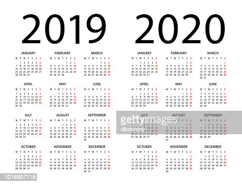 Calendar 2019 2020 - illustration. Week starts on Monday : stock vector
