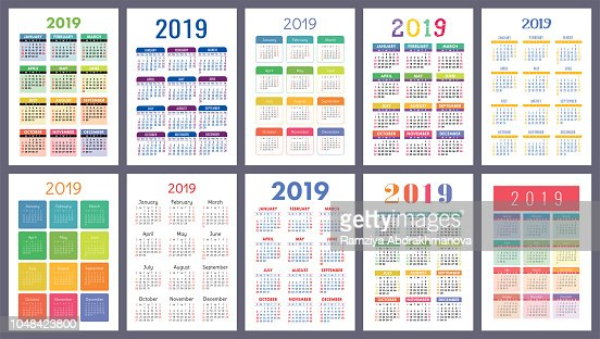 Calendar 2019. Colorful set. Week starts on Sunday. Basic grid. English vector calender collection for print. New year. Color simple design : stock vector