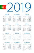 Calendar 2019 year - vector illustration. Portuguese version