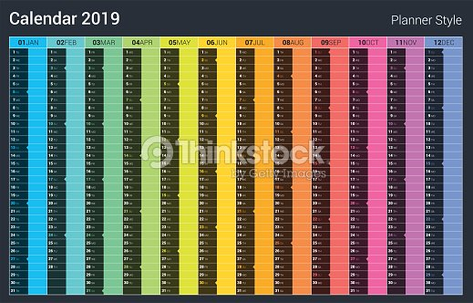 Calendrier 2019 Vectoriel.Conception De Planificateur Calendrier 2019 Vector