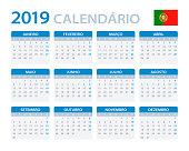 Calendar 2019 - Portuguese Version - vector illustration
