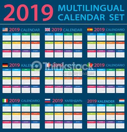 Calendario 2019 Juego Ingles Americano Espanol Aleman Portugues