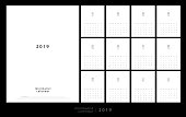 Calendar 2019 Trendy Minimalist Style. Set of 12 pages desk calendar. minimal calendar planing vector design for printing template
