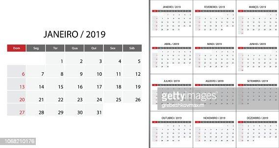 Calendar 2019 week start on Sunday. : stock vector