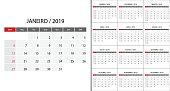 Calendar 2019 on Portuguese language week start on Sunday. Template for planner design