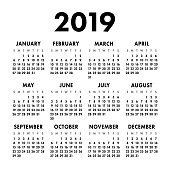 Calendar 2019 year. Black and white vector template. Week starts on Sunday. Basic grid. Pocket square calender. Ready design