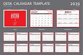 Calendar 2020, Desk calendar template, Set of 12 Months, Planner, Week starts on Sunday, Stationery design, advertisement, Vector layout, red cover design, business brochure flyer