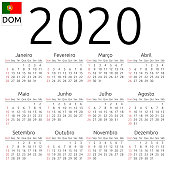 Simple annual 2020 year wall calendar. Portuguese language. Week starts on Sunday, Brazil. Sunday highlighted. No holidays highlighted. EPS 8 vector illustration, no transparency, no gradients