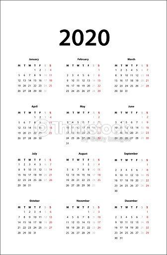 Vector De Calendario 2020.Template Calendario 2020 Template Calendario 2020 Ferilli