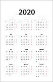 calendar 2020 -  Simple Calendar template for 2020