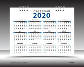 Calendar 2020 template layout, blue background, business brochure flyer, print media, advertisement, Simple design template, creative vector illustration