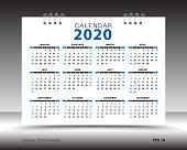 Calendar 2020 template layout, blue background, business brochure flyer, print media, advertisement, Simple design template, creative vector illustration