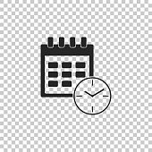 Calendar and clock icon isolated on transparent background. Schedule, appointment, organizer, timesheet, time management, important date. Date and time sign. Flat design. Vector Illustration