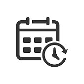Calendar and Clock Icon. Beautiful, meticulously designed icon for use in Website Design, Presentations, Infographics and on Printed Materials.