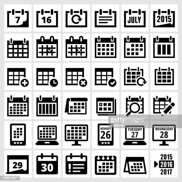 Kalender schwarz und weiß lizenzfreie vektor icon-set-interface
