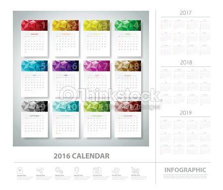 2016 calendrier design g om trique color vecteur eps10 - Calendrier design ...