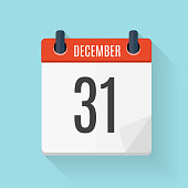 December 31 Calendar Flat Daily Icon. Vector Illustration Emblem. Element of Design for Decoration Office Documents and Applications. Logo of Day, Date, Time, Month and Holiday. EPS10