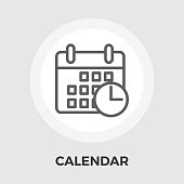 Calendar with clock icon vector. Flat icon isolated on the white background. Editable EPS file. Vector illustration.