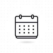 Calendar flat vector icon. Calendar line vector icon on white background. Flat line vector illustration