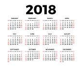Calendar for 2018 on white background