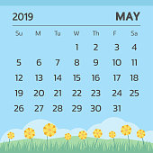 Calendar for May 2019 with spring theme, Week start on sunday