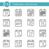 Set of 16 calendar line icons, vector eps10 illustration