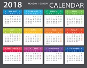 Vector template of color 2018 calendar - Monday to Sunday