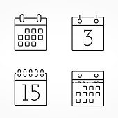 Four calendar line icons, vector eps10 illustration