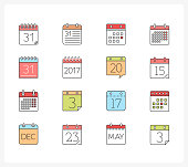 Set of 16 colored calendar line icons, vector eps10 illustration