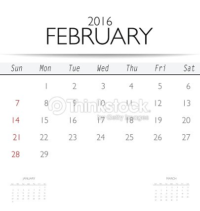 2016 Calendar Monthly Calendar Template For February Vector Art