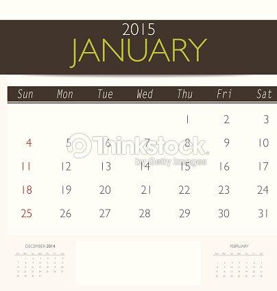 2015 Calendar Monthly Calendar Template For January Vector Art