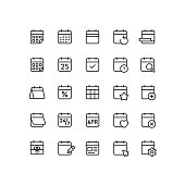 Set of calendar outline vector icons.