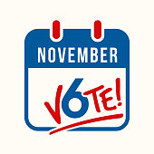 Calendar page reminder to vote in the United states midterm election on November 6th. banner, poster design. Vector illustration.