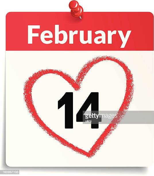 Calendar page with the date of February 14th