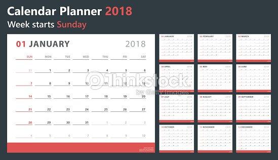 カレンダー プランナー 2018週の開始日ベクター デザイン テンプレート