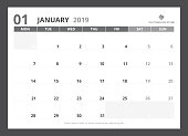 2019 calendar planner A5 size template design January starts week on Monday.