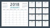Calendar planner 2018, week starts monday, vector design template