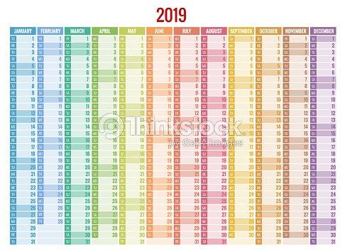 2019 年度カレンダー プランナーベクトルのひな形デザイン印刷