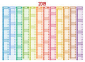 Calendar Planner for 2019 Year. Vector Stationery Design Print Template with Place for Photo, Your symbol and Text. Portrait Orientation. Set of 12 Months.
