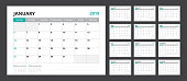 2019 calendar planner set for template corporate design week start on Sunday.