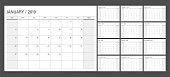 2019 calendar planner set week start Sunday corporate design template vector.