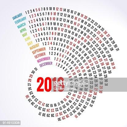 Calendrier 2019 Imprimer Gabarit Spirale Set De 12 Mois Rond