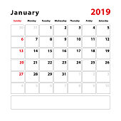 Calendar sheet for the month of January 2019, space for text notes. Vector illustration.