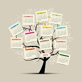 Calendar tree 2015 for your design. Vector illustration