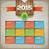 2015 calendar. Vector design template. Elements are layered separately. EPS10 file.