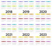 Calendar 2018, 2019, 2020, 2021, 2022, 2023 year. Week starts Sunday. Vector. Stationery 2019 vertical template in simple minimal design. Yearly calendar organizer for weeks. Portrait orientation.