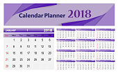 Vector illustration; Template Calendar, 2018. Can be used in print advertising and public relations.