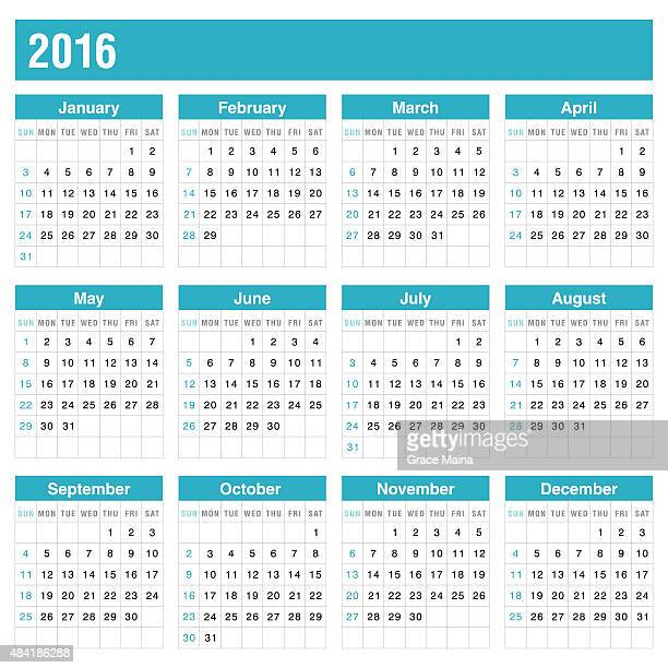 Calender 2016 In Blue Color - VECTOR