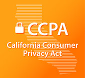 Gradient Orange and Gold CCPA text over state of California striped Outline